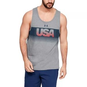 Under Armour USA Flag America Gray Muscle Tee Tank